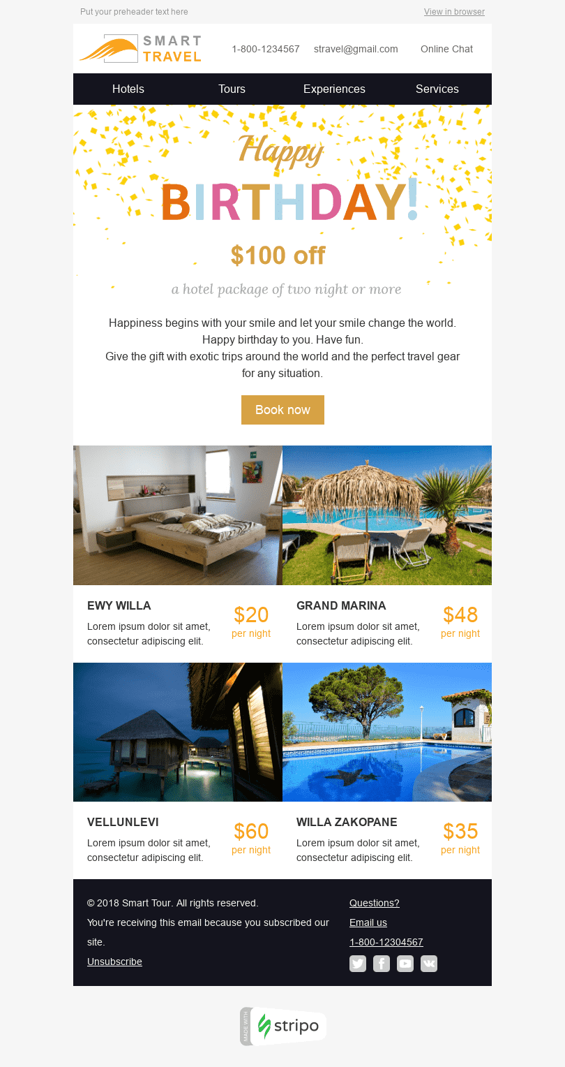 "Birthday Email Template ""Perfect Travel"" for Tourism industry desktop view"