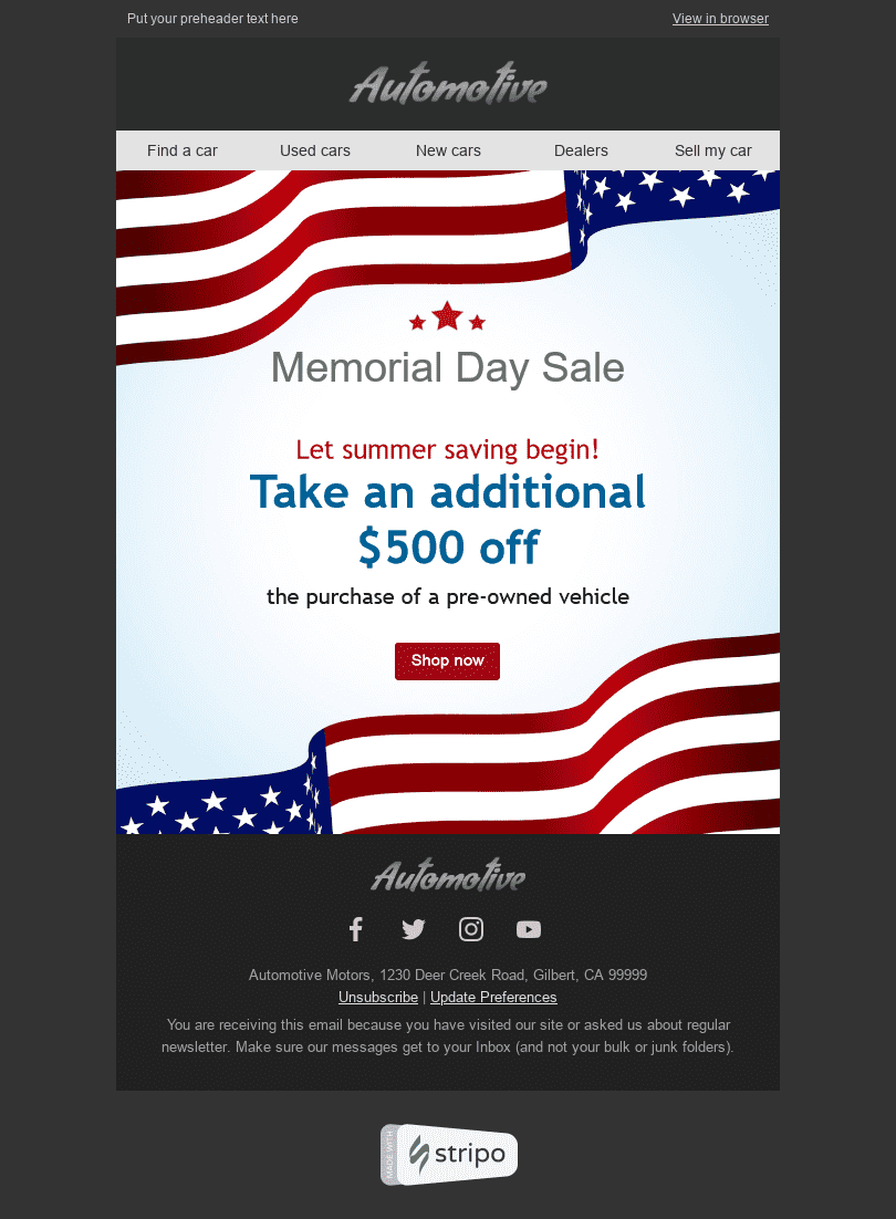 Stripo Transportation Car Holiday newsletter Memorial Day Red White email web