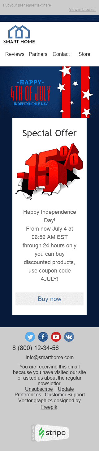 "Independence Day Email Template ""Memorable Event"" for Furniture, Interior & DIY industry mobile view"