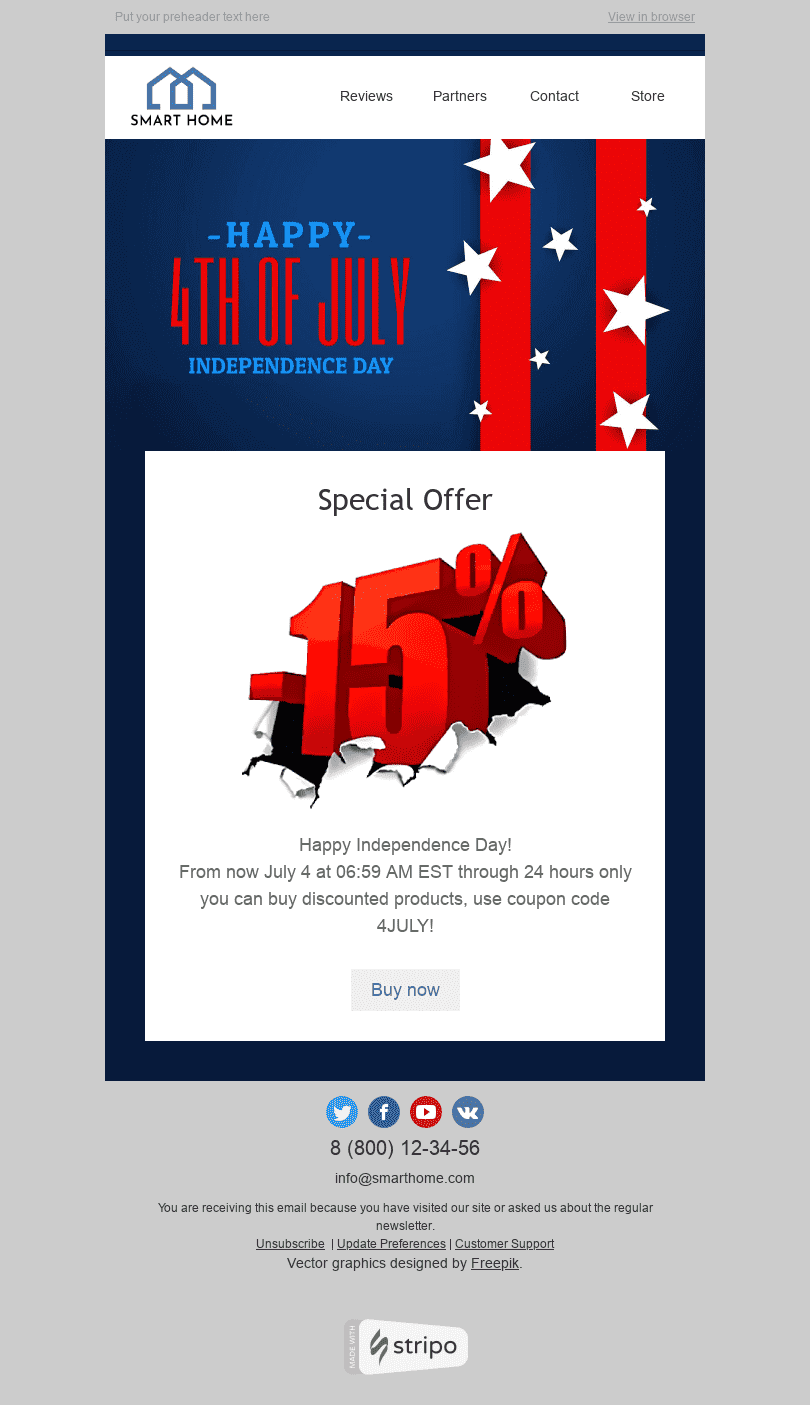 "Independence Day Email Template ""Memorable Event"" for Furniture, Interior & DIY industry desktop view"