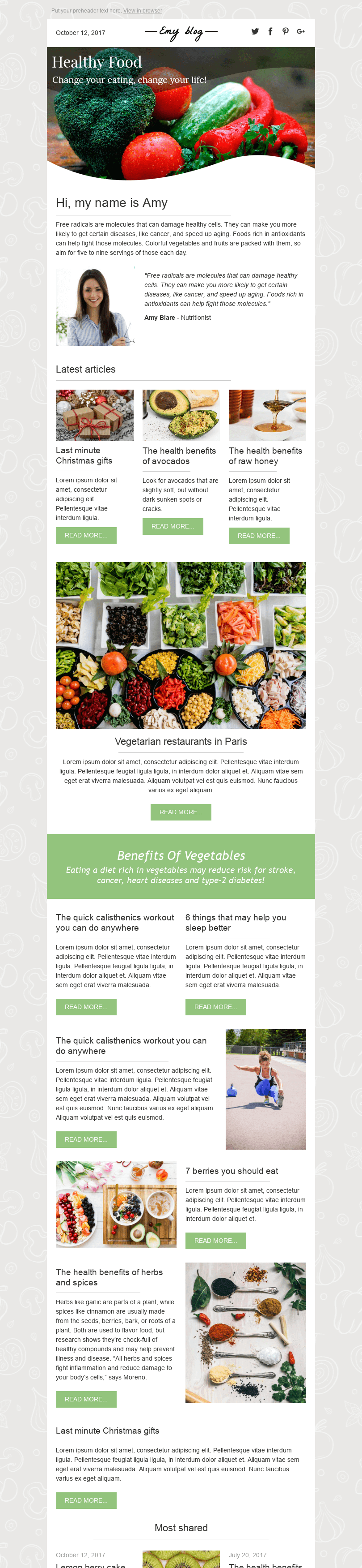 Stripo Publications Blog Promo newsletter Healthy Foods email web