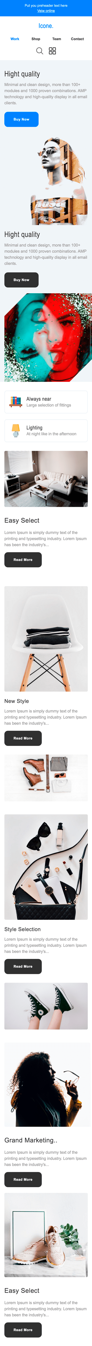 Promo Email Template «Style icon» for Furniture, Interior & DIY industry mobile view