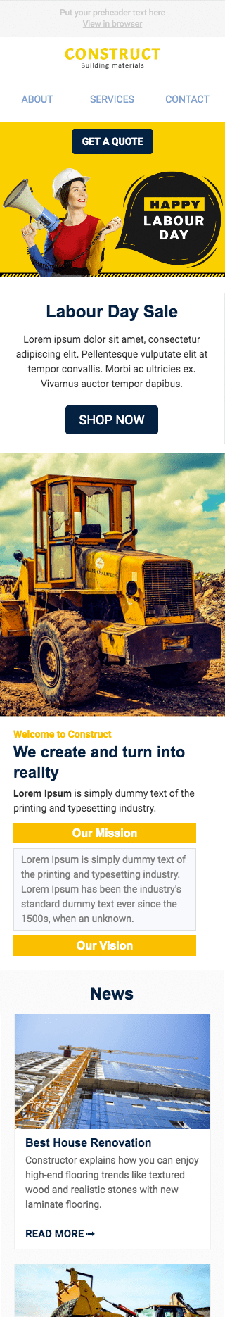 Labor Day Email Template «Building the future» for Construction industry mobile view