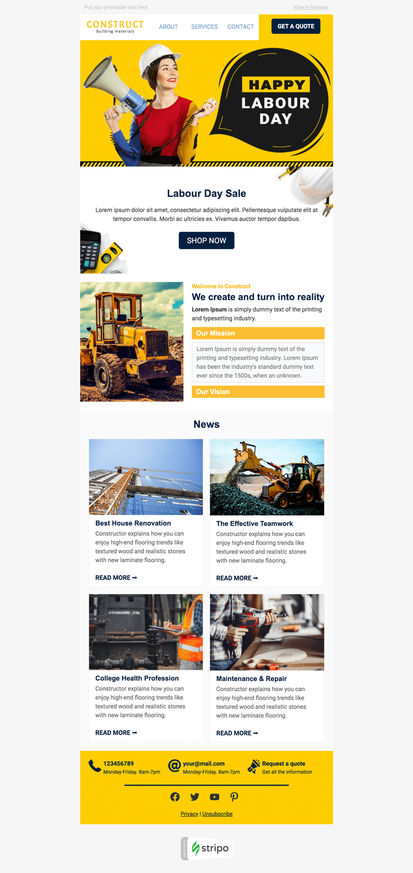 Labor Day Email Template «Building the future» for Construction industry desktop view