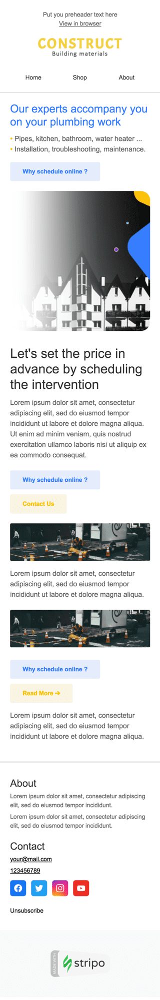 Product Update Email Template «New Opportunities» for Construction industry mobile view