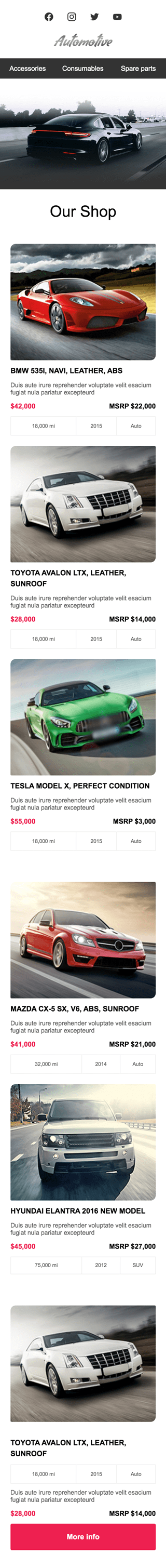 Promo Email Template «Long Road» for Auto & Moto industry mobile view