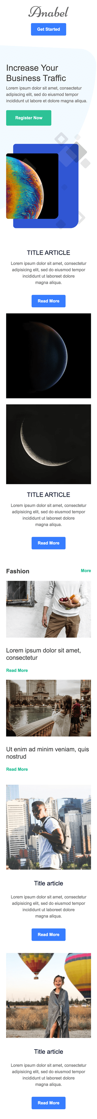 Promo Email Template «Short info» for Publications & Blogging industry mobile view