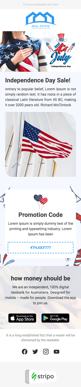 Independence Day Email Template «Unity» for Real Estate industry mobile view