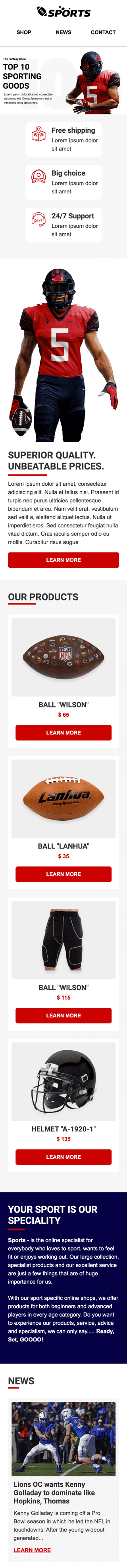 Super Bowl Email Template «Games Time» for Sports industry mobile view