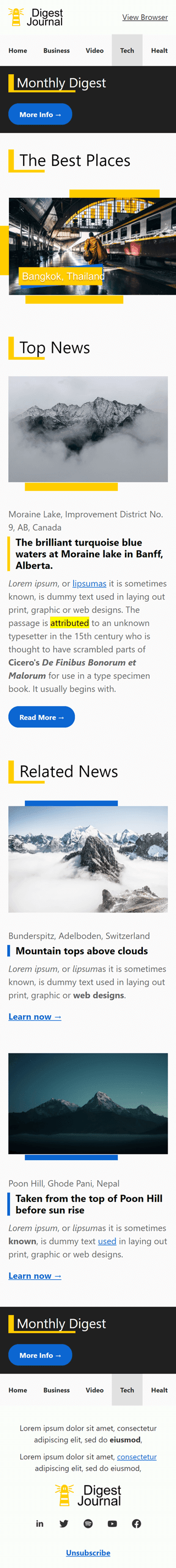 Email Digest Email Template «Smart Digest» for Publications & Blogging industry mobile view