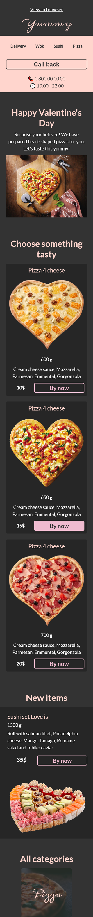Valentine's Day Email Template «Pizza heart» for Food industry mobile view