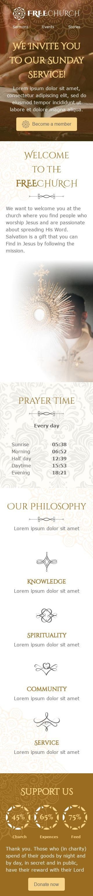 Promo Email Template «Sunday Service» for Church industry mobile view