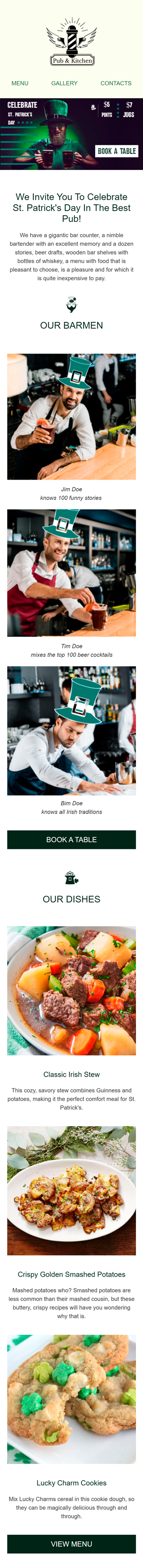 St. Patrick's Day Email Template «In The Best Pub» for Food industry mobile view