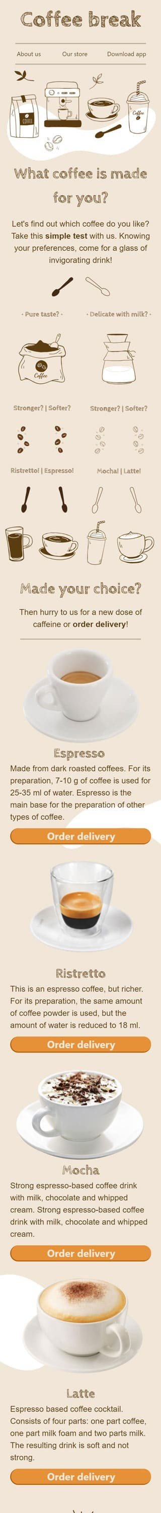 Promo Email Template «Choose your coffee» for Beverages industry mobile view