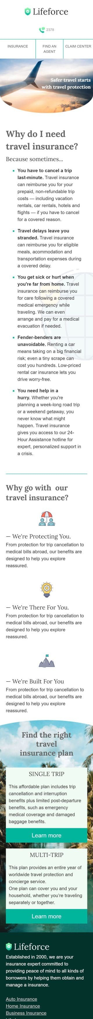 Promo Email Template «Travel insurance» for Insurance industry mobile view