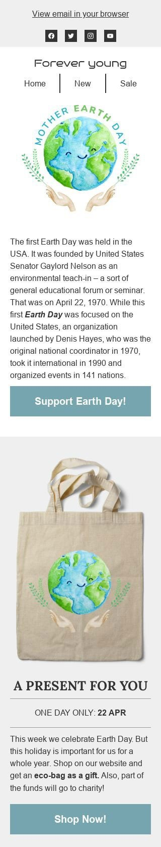 Earth Day Email Template «Present for you» for Fashion industry mobile view