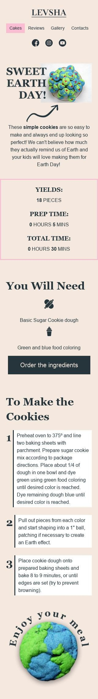 Earth Day Email Template «Make cookies» for Food industry mobile view