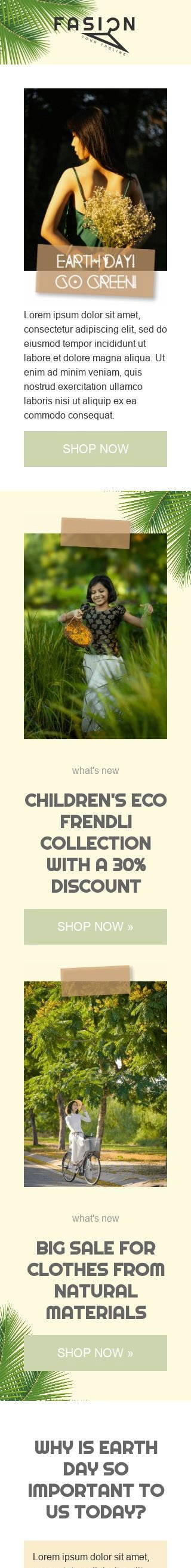 Earth Day Email Template «Go green» for Fashion industry mobile view