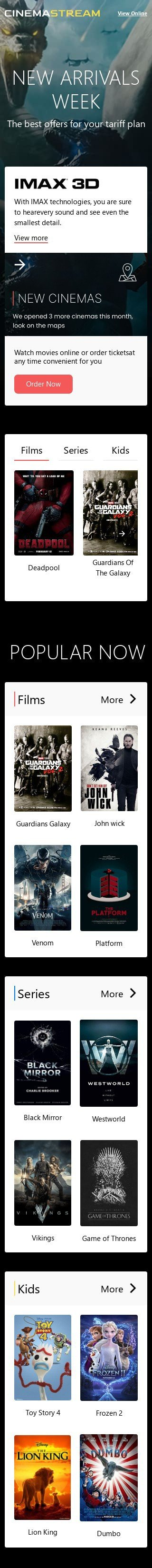 Promo Email Template «Evening viewing» for Movies industry mobile view
