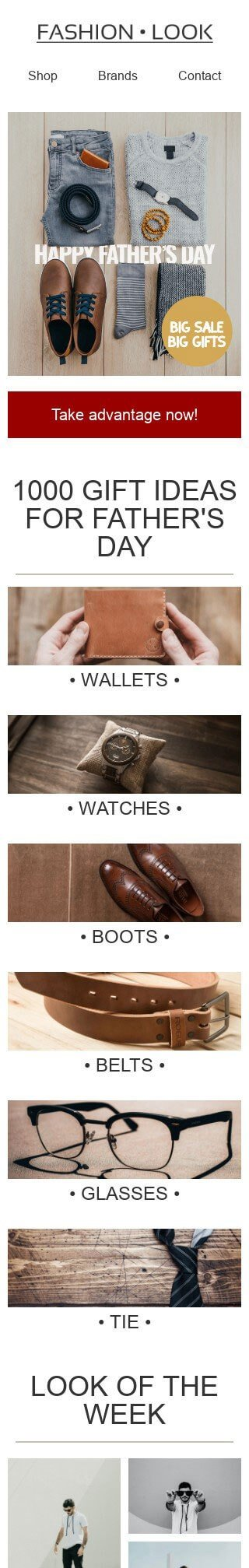 Father's Day Email Template «Accessories for men» for Fashion industry mobile view