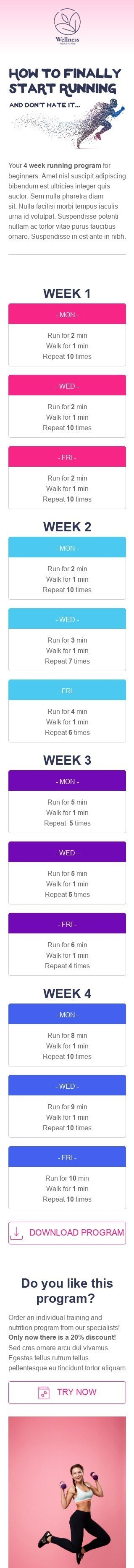 Promo Email Template «Running program» for Health and Wellness industry mobile view