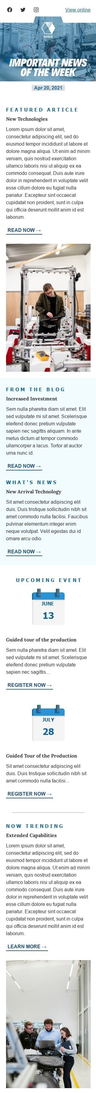 Promo Email Template «News of the week» for Manufacturing industry mobile view