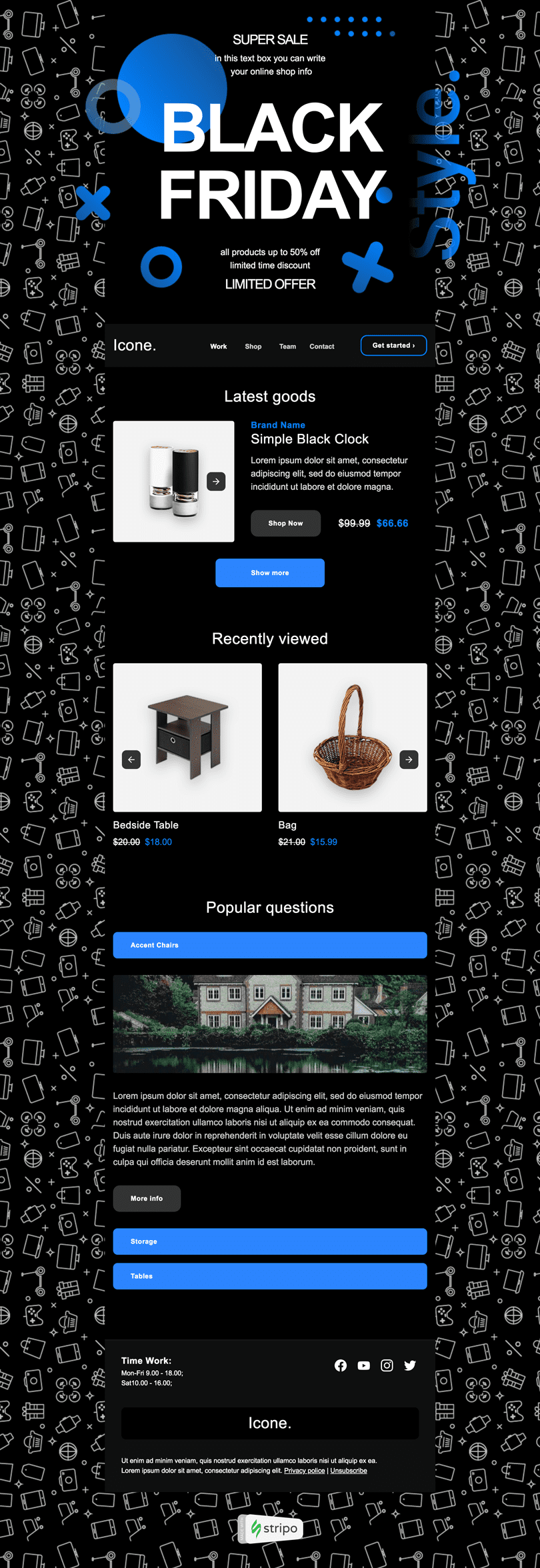 Black Friday Email Template «Quick Revision» for Furniture, Interior & DIY industry desktop view