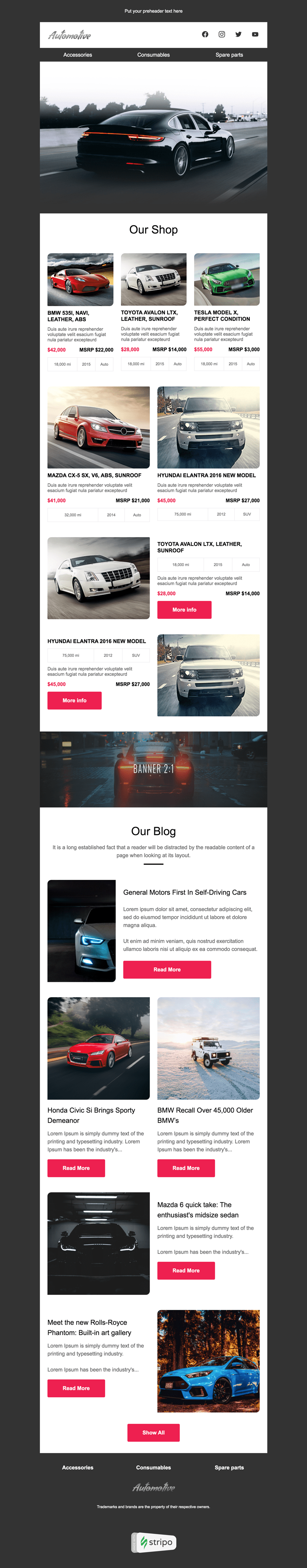 Promo Email Template «Long Road» for Auto & Moto industry desktop view