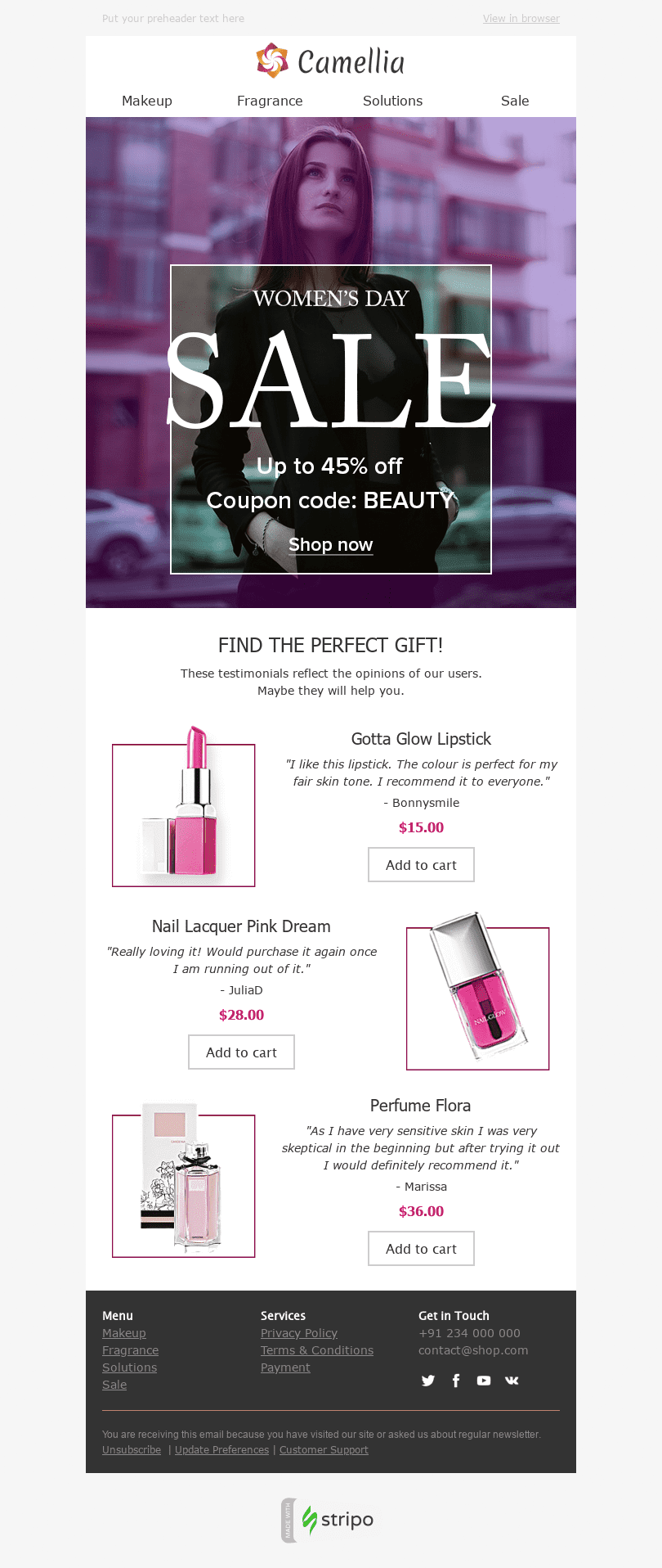 "Women's Day Email Template ""Perfect Colour"" for Beauty & Personal Care industry desktop view"