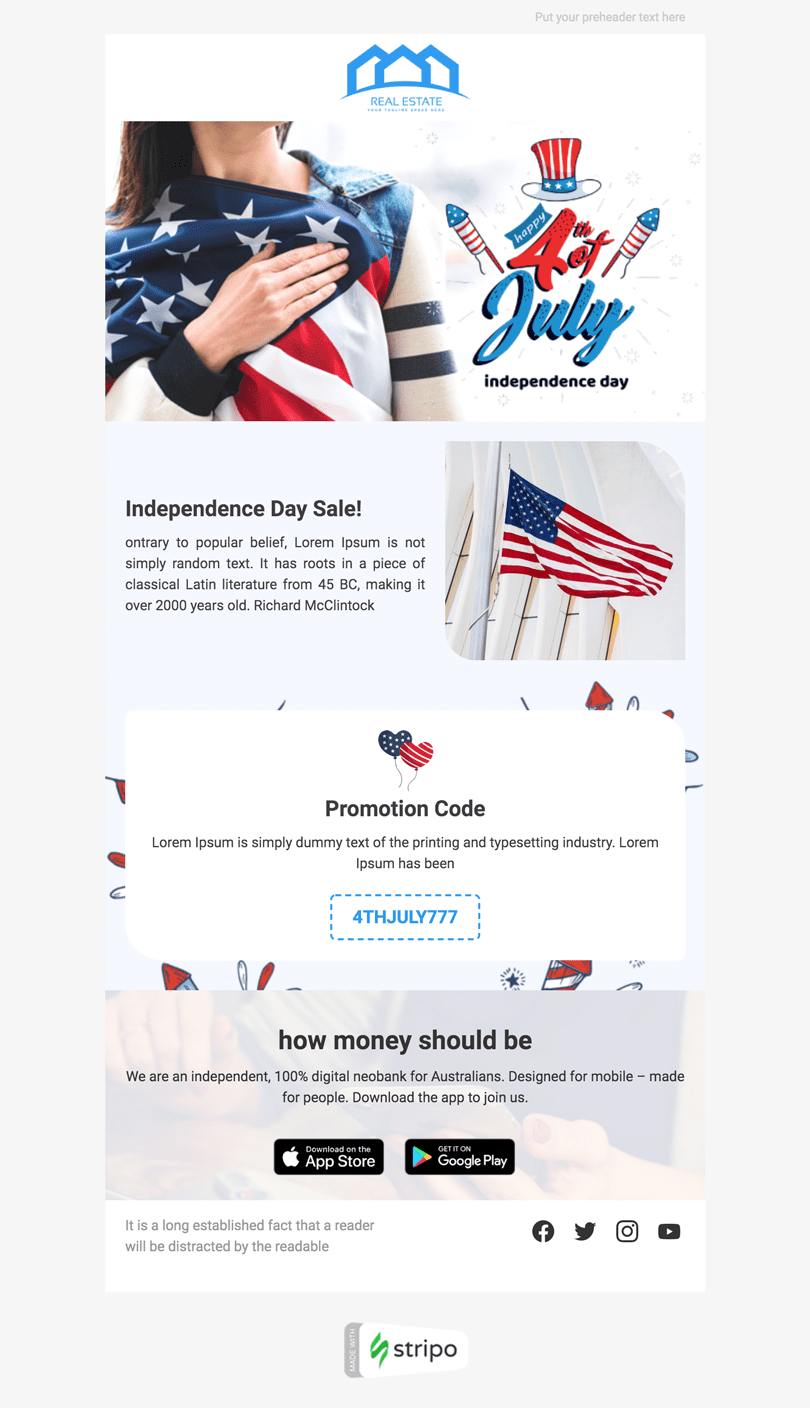 Independence Day Email Template «Unity» for Real Estate industry desktop view