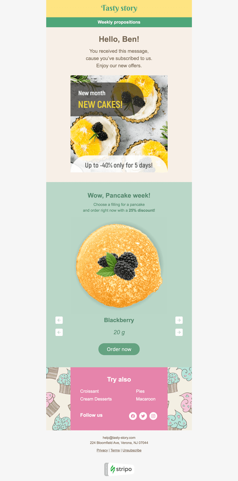 Promo Email Template «Food of The Day» for Food industry desktop view