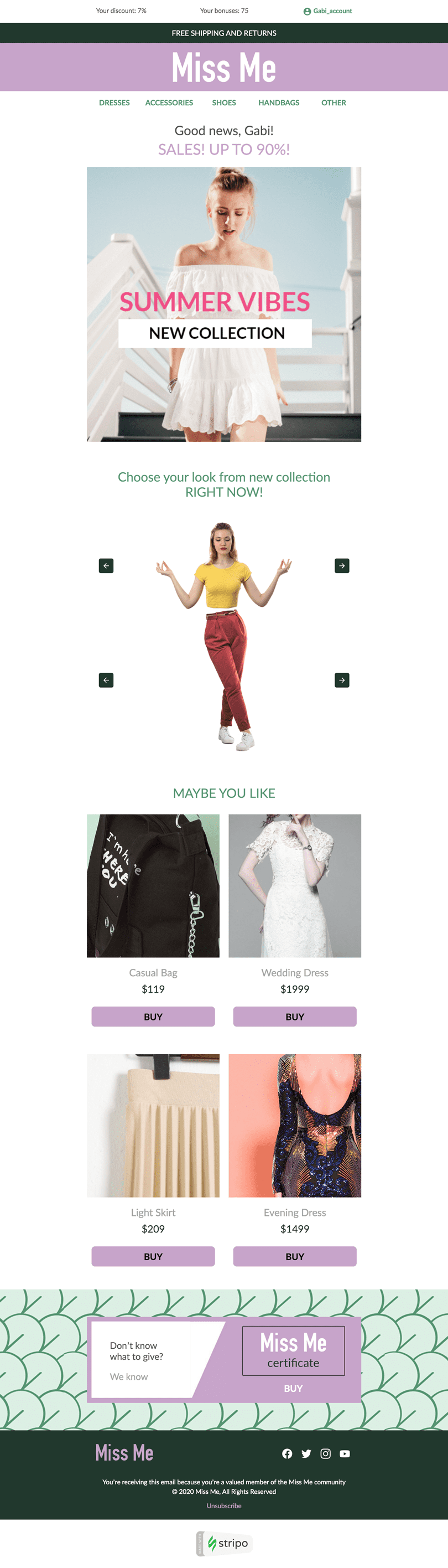 Promo Email Template «Fashionable style» for Fashion industry desktop view