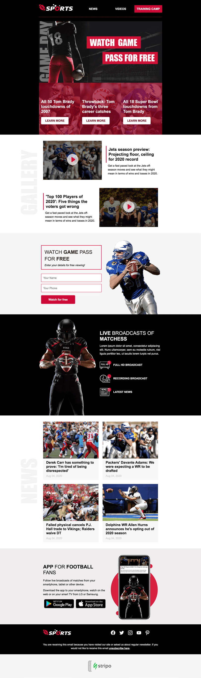 Super Bowl Email Template «Online Game» for Sports industry desktop view