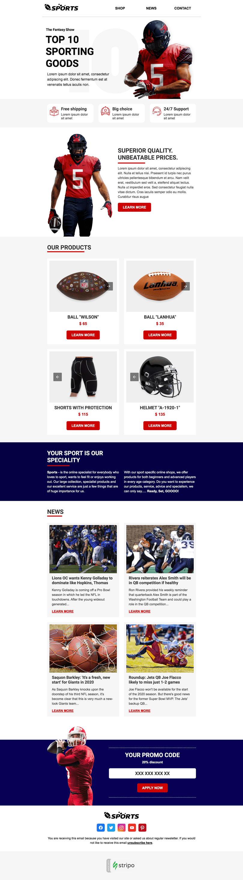 Super Bowl Email Template «Games Time» for Sports industry desktop view