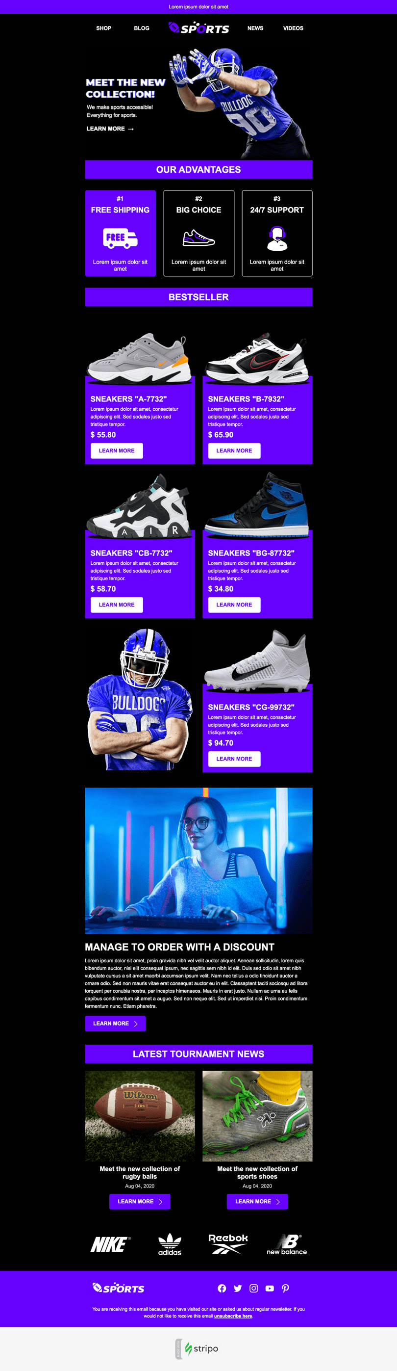 Super Bowl Email Template «Life is a game» for Sports industry desktop view