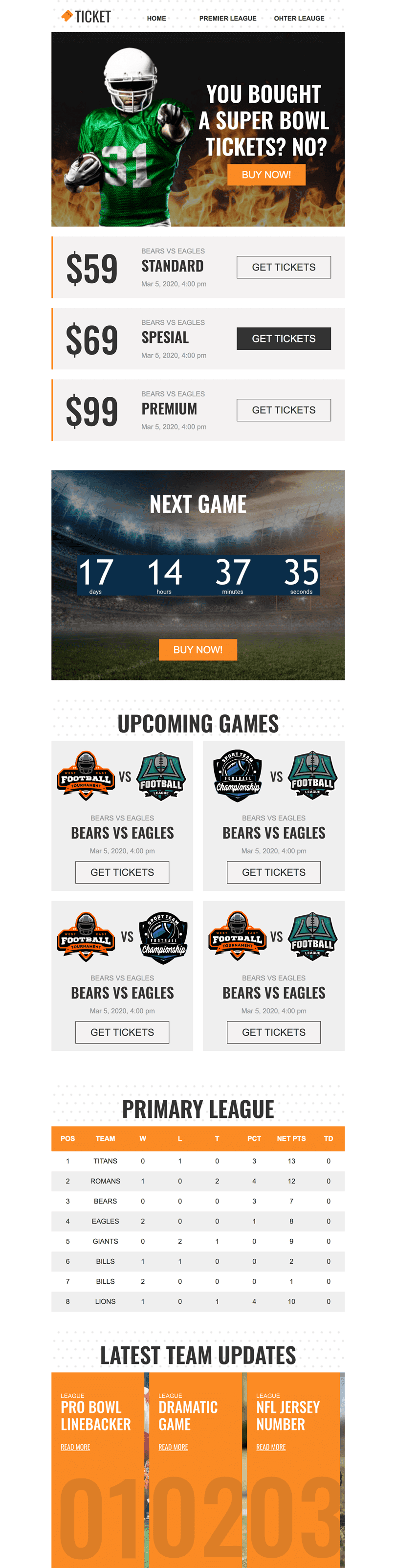 Super Bowl Email Template «Tickets» for Sports industry desktop view