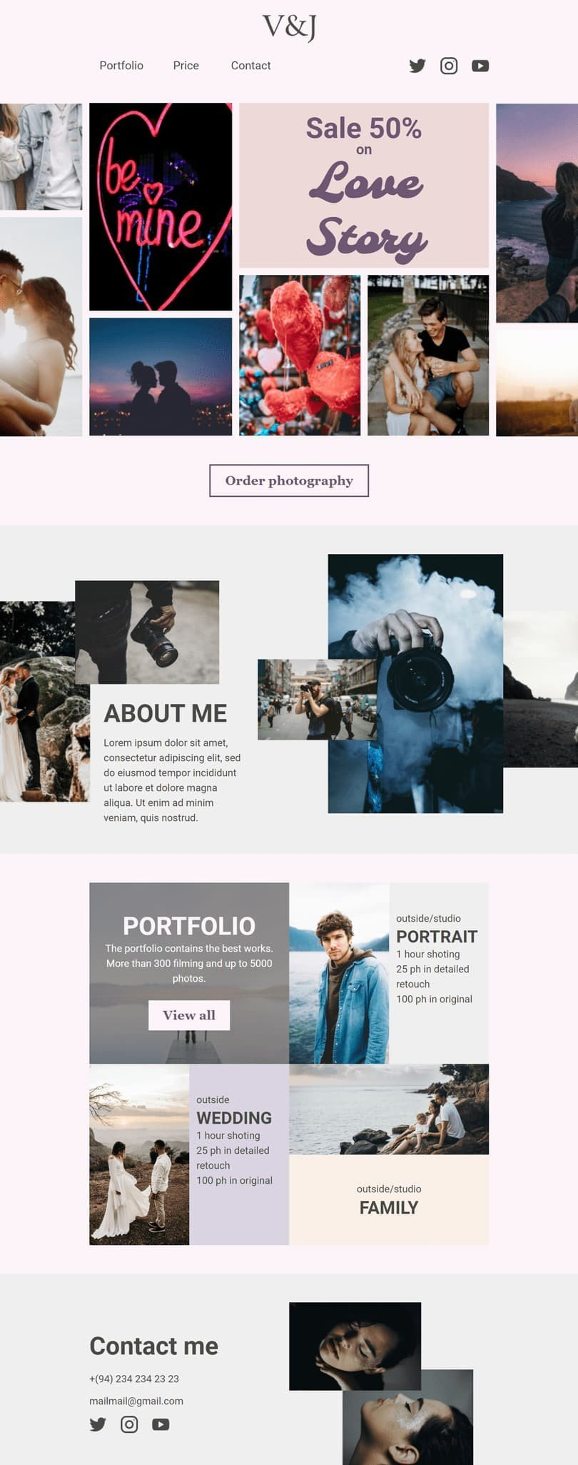 Valentine's Day Email Template «Love story» for Photographer industry desktop view