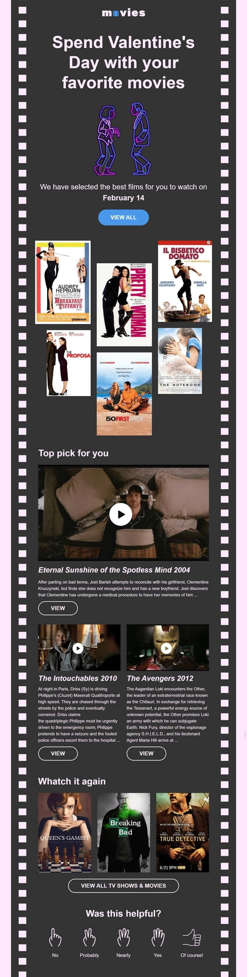 Valentine's Day Email Template «Romantic movies» for Movies industry desktop view