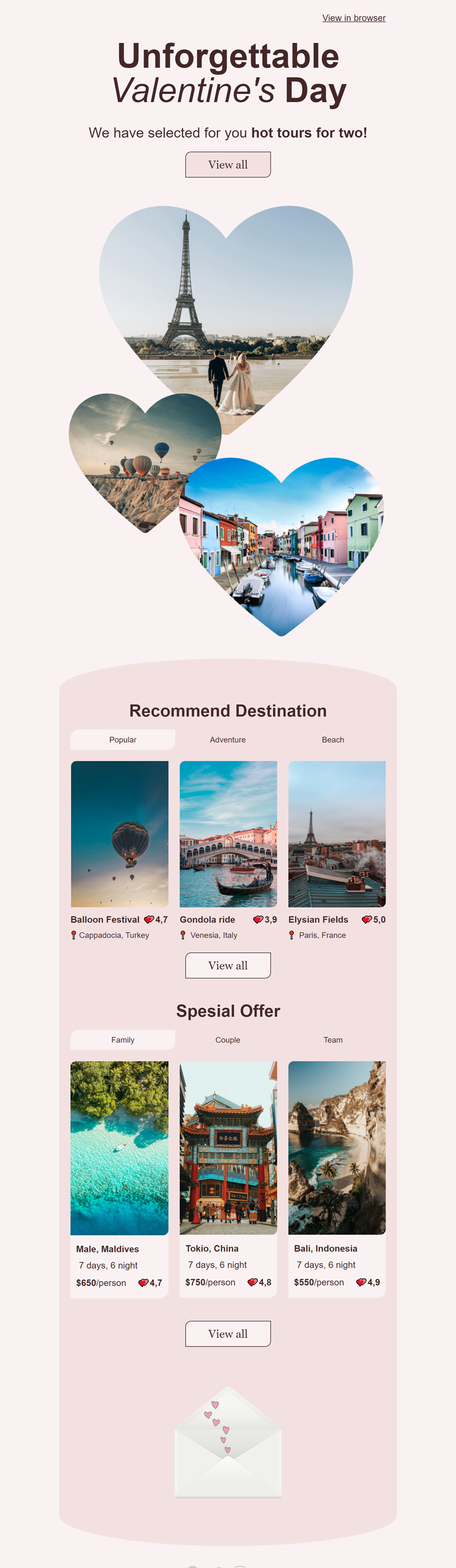 Valentine's Day Email Template «Unforgettable journey» for Travel industry desktop view