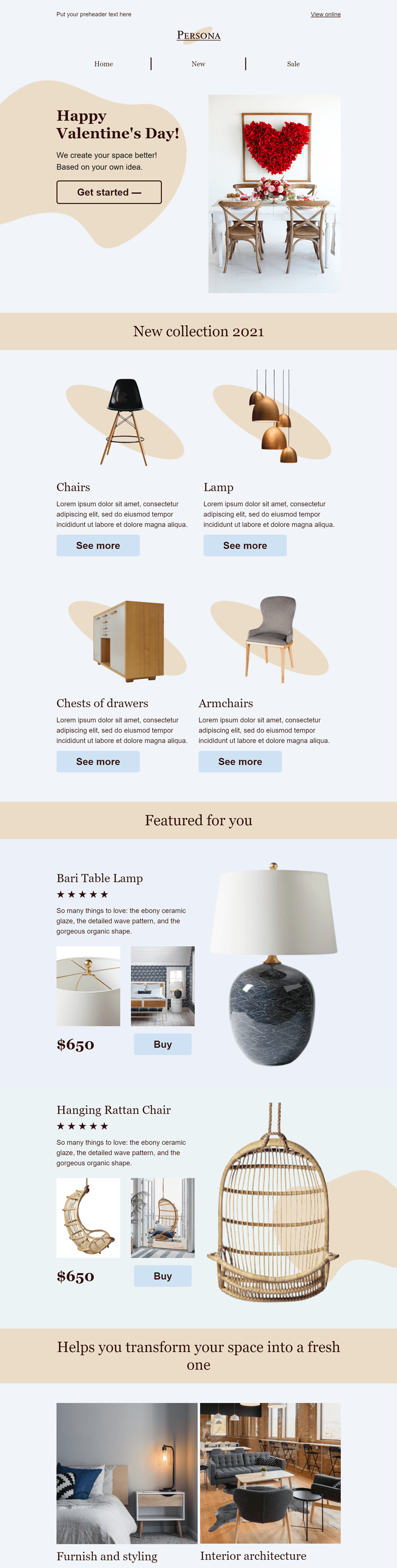 Valentine's Day Email Template «Romantic design» for Furniture, Interior & DIY industry desktop view