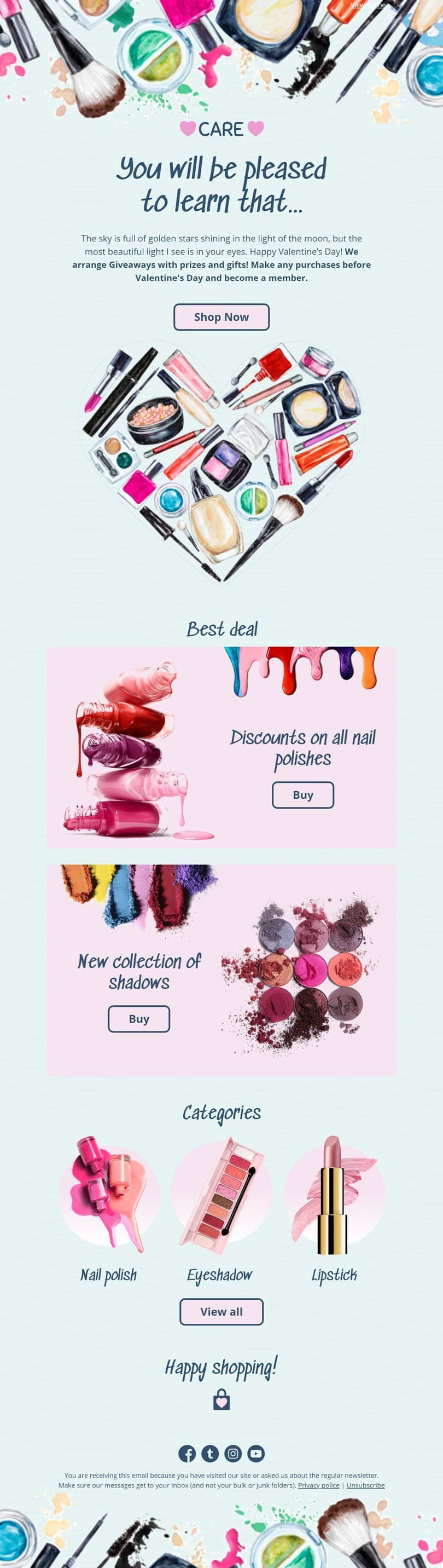 Valentine's Day Email Template «Care» for Beauty & Personal Care industry desktop view