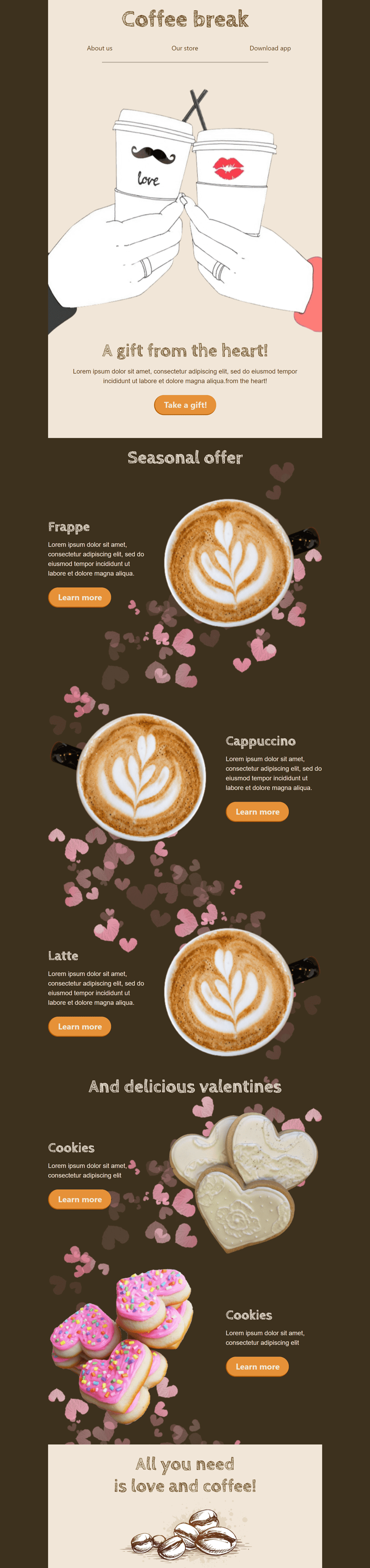 Valentine's Day Email Template «Coffee Break» for Beverages industry desktop view