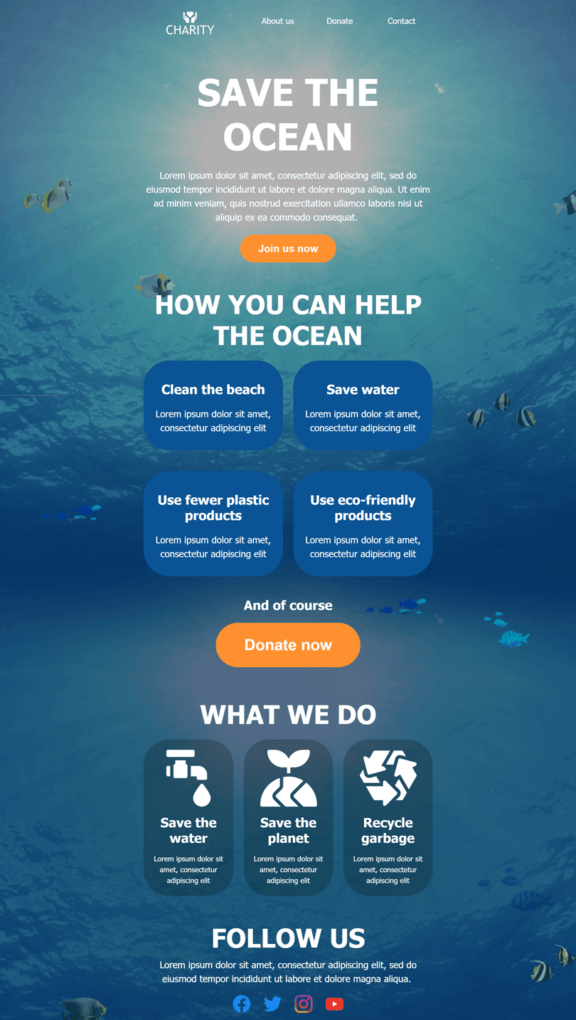 Promo Email Template «Save the ocean» for Non-Profit & Charity industry desktop view