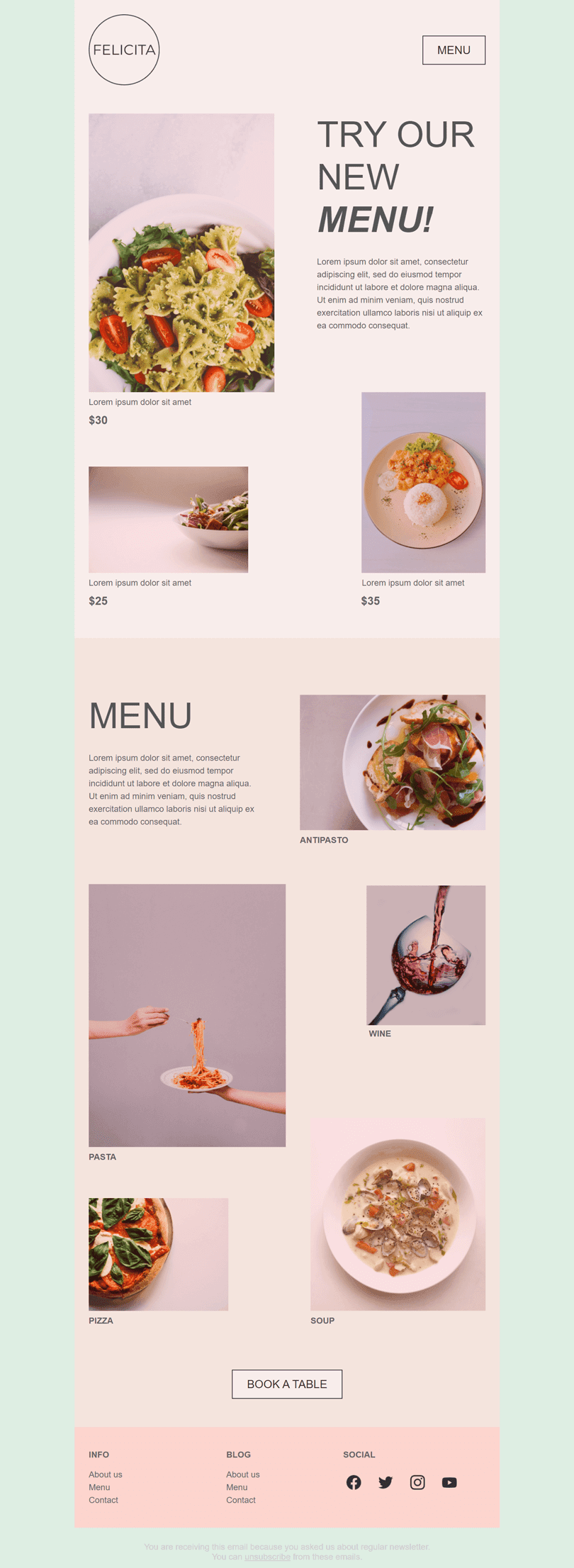 Promo Email Template «New menu» for Restaurants industry desktop view