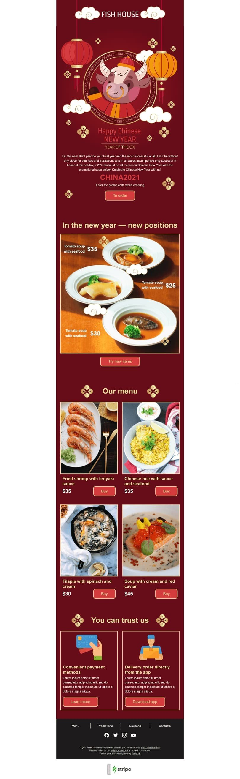 Chinese New Year Email Template «Fish house» for Food industry desktop view