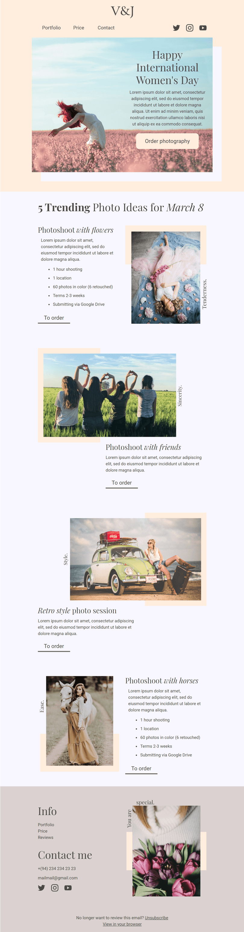 Women's Day Email Template «Trending photo idea» for Photographer industry desktop view