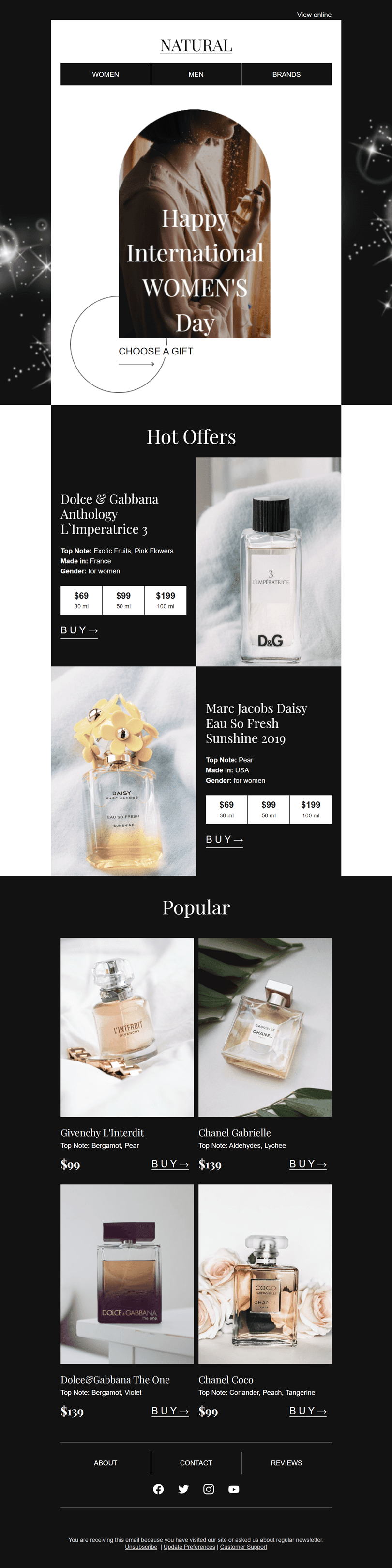 Women's Day Email Template «The best perfumes» for Beauty & Personal Care industry desktop view