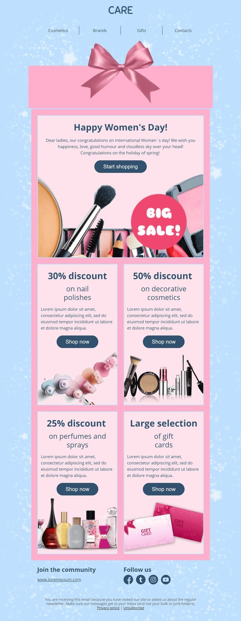 Women's Day Email Template «Gift box» for Beauty & Personal Care industry desktop view