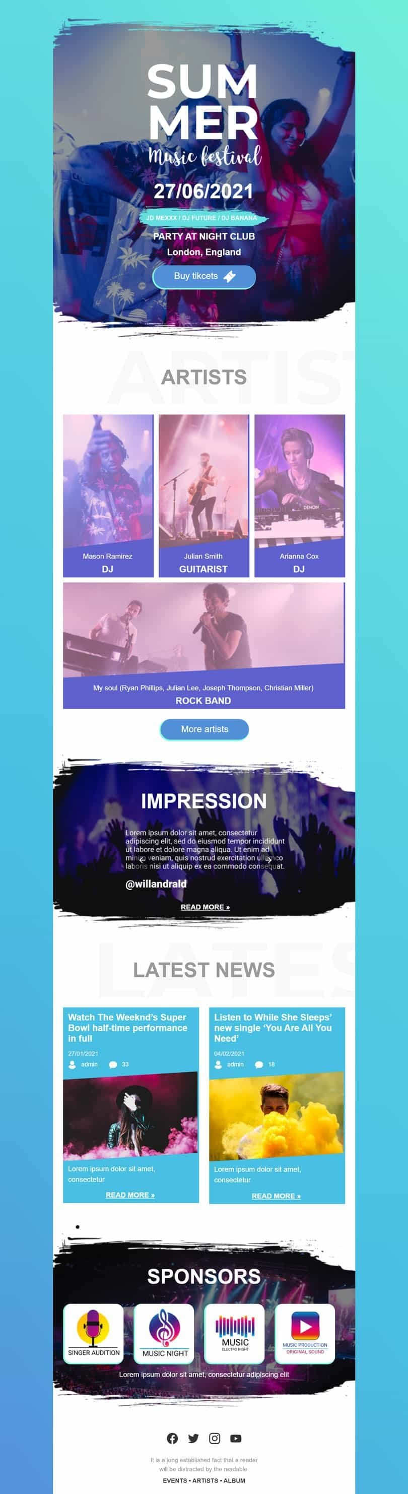 Promo Email Template «Music Festival» for Music industry desktop view
