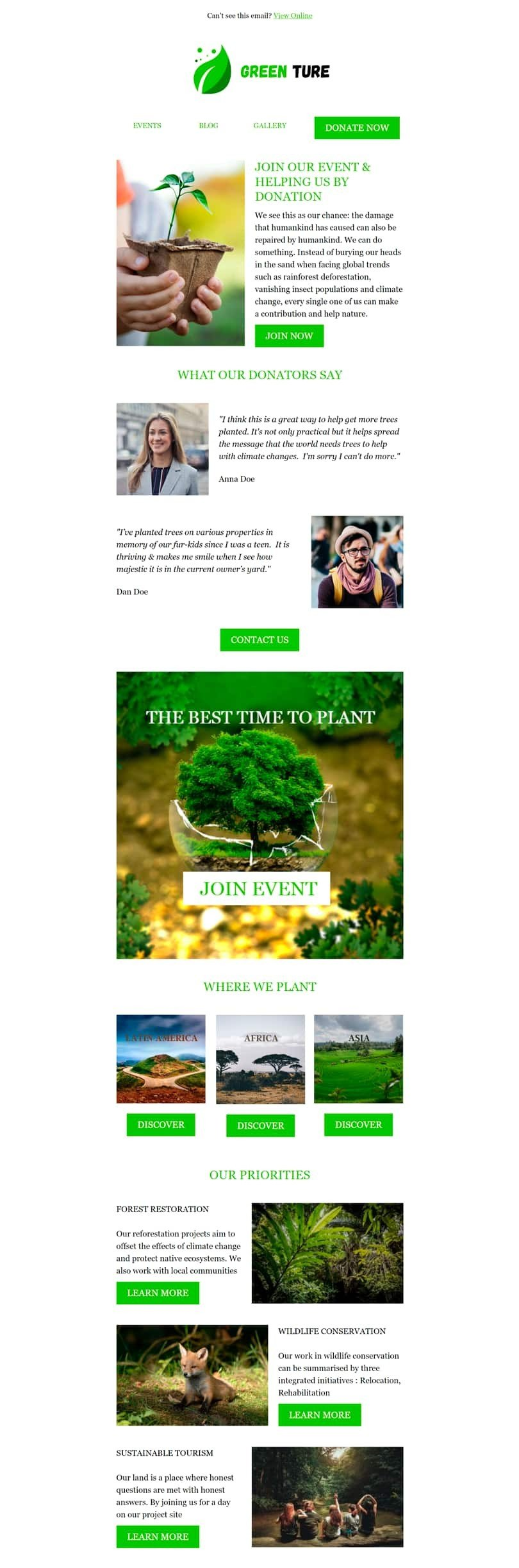 Promo Email Template «Green Ture» for Nonprofit industry desktop view